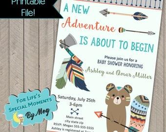 Woodland Squirrel Tribal Baby Shower Invitations- Wild - Adventure Begins -  Printable File