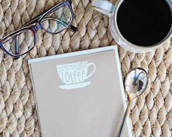 Embossed Note Cards, Cup of Coffee, Flat Note Cards, Stationery Set