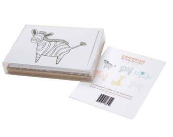 Savannah Note Card Set- 12 cards 6 Different Animals