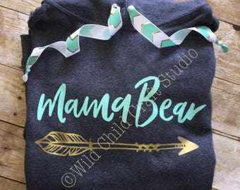 Mama Bear Hooded Sweatshirt Hoodie Charcoal Gray Mint and Gold