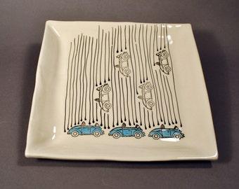 Large Handmade Ceramic Plate, Raining Bugs Platter