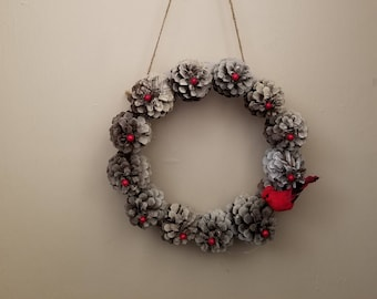 Winter Pine Cone Wreath with Berries and Cardinal