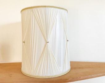 Hollywood Regency Style Vintage Drum Lampshade -  Mid Century - White - Natural White - Gold Ornate Detailing