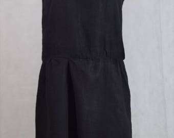 Drop waist linen black dress, vintage dress, vintage clothing, clothing, vintage, vintage dress women's clothing, dress, dresses for women