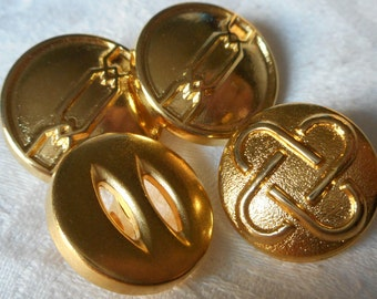 Lot of 4 VINTAGE Gold Metal BUTTONS
