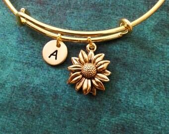 Sunflower Bangle Sunflower Bracelet Flower Charm Bracelet Bridesmaid Jewelry Daisy Bangle Stackable Bangle Adjustable Bangle Personalized