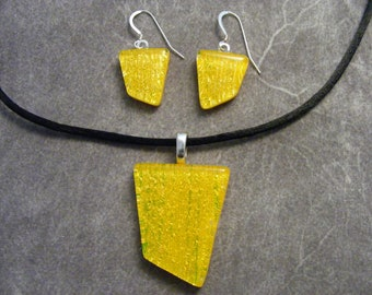 Dichroic Chrome Yellow Pendant & Earring Set