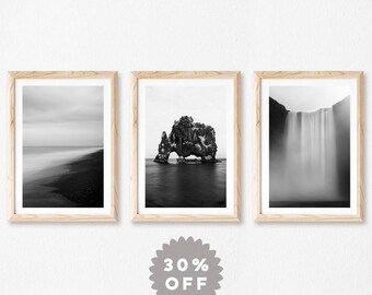 Iceland Wall Art, Set Of 3, Print Set, Black and White Photography, Landscape Photography Prints, Nature Photography, Scandinavian Mens Gift