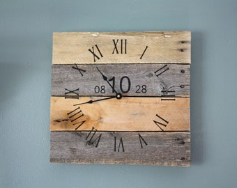 Anniversary clock. Reclaimed wood. Personalized wood clock. 5 Year Anniversary Gift.  Rustic. Modern clock.  Farmhouse style...gift.