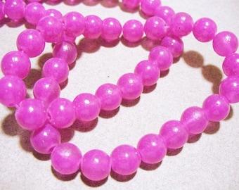 Jade Glass Beads Pink Round 8MM
