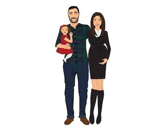 Illustrated Family Portraits, Custom Portrait, Personalised Gift, Custom Portrait, Gifts For Families, Family Illustration, Illustration