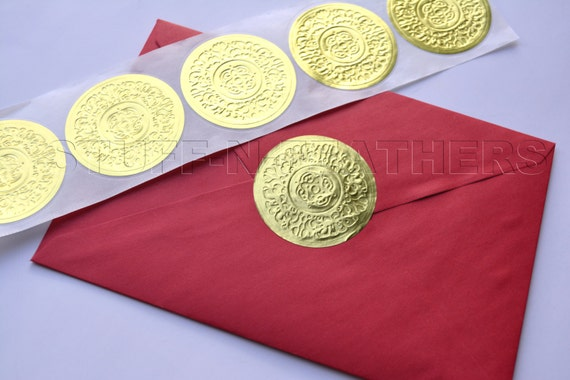 Gold foil sticker seals large round embossed stickers 2 in envelope seal invitation seal wedding seal gift wrapping christmas cards d15g from