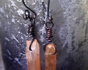 Orange Crystal Dagger Wire Wrapped Copper Earrings