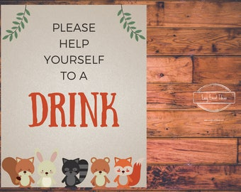 Woodland Creatures Baby Shower Grab a Drink Sign | Printable | Instant Download