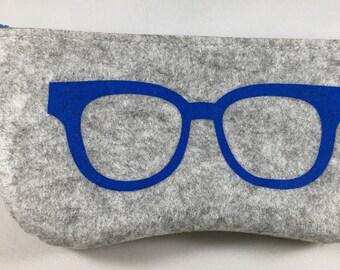 Felt Eyeglass Case - Gray & Blue