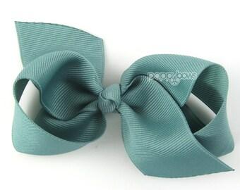 Girls Hair Bow - sea mist hair bow - Loopy Bows - large hair bows - big hair bows - bows for girls - toddler clips blue green 3.5 inch bows