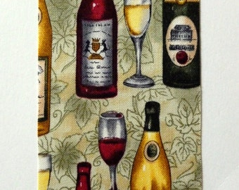 Wine Ribbon, Wine Bottles, Red and White wine with Grape leaves, Sage, Made in USA, 100% Cotton, 2 YARDS, 2.5 in. wide, Wine Bottles Ribbon