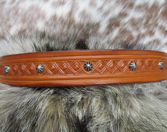 Leather Hatband, Handmade Leather Hatband, Hand Tooled Tan Cowboy Hatband with Antique Nickel Plated Etched Dome Spots and Lace Ties