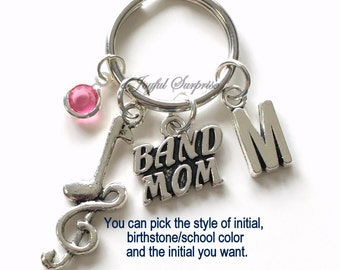Band Mom KeyChain, Gift for Mother Keyring, Charm Key chain Personalized Initial Birthstone birthday present Christmas Gift Musician Music