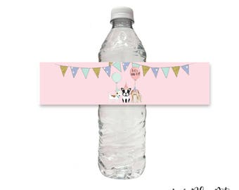 Puppy Dog Water Bottle Wrap Label, Printable, Pet Adoption, Birthday Party, Sticker, Pawty, Adopt a Pup, Instant Download, Digital