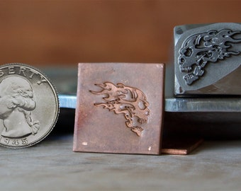Flaming Skull Metal Hand Stamp for Blacksmith, Jewelry, Leather Artists