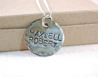 Personalized Necklace, Mothers Necklace, Sterling Silver, Personalized Pendant