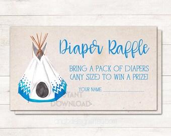 Diaper Raffle Ticket, Baby Shower Diaper Raffle, Teepee Baby Shower, Native American, Baby Shower Boy, Boho, Games, Printable No. 2016