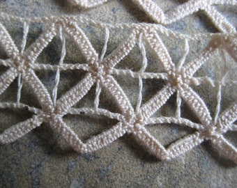 Vintage French lace trim, off white, geometric, vintage haberdashery, vintage sewing notions