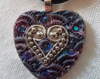 Heart, Mysterious, Purple, Blue, Rainbow, Mosaic Pendant, PA-118