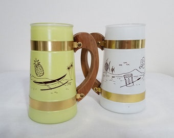 Two Beer Mugs Siesta Ware Hawaiian Tiki Bar Two Glasses Yellow and White