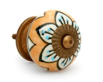 Mustard with Floral Design Round Decorative Ceramic Dresser Drawer, Cabinet or Door Pull Knob - i742