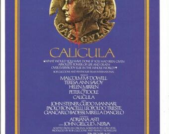 1981 Advertisement Caligula Movie Poster Malcolm McDowell Helen Mirran Peter O'Toole Blue John Gielgud Wall Art Decor
