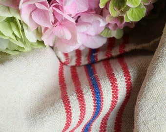 Nr. A75: Grain Sack antique  RED and BLUE style organic pillow benchcushion 23.62 inches wide wedding decoration