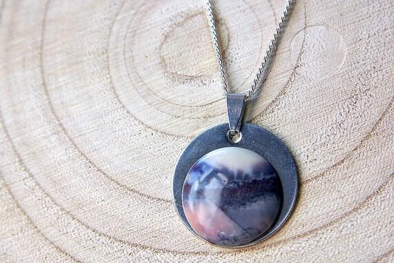 Natural Jasper Porcelain Jewelry, Gemstone Necklace, Pendant Cabochon, Jasper Gift for Her, birthstone