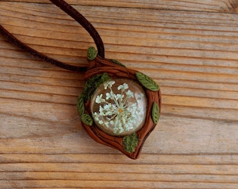 Glass Sphere with Dried Flower Pendant , Branches Leaves Moss , Woodland Necklace , Forest Fairy , Botanical Jewelry