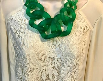 Kelly Emerald Green Translucent Resin Chunky Chain Lucite Link Housewife Resin Statement Necklace Additional Colors Available