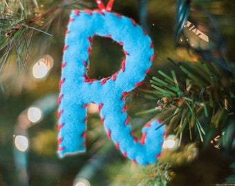 Handmade Letter Christmas Ornament blue felt with red stitching
