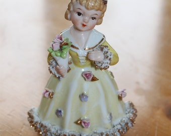 Vintage Flower Girl Porcelain Statue