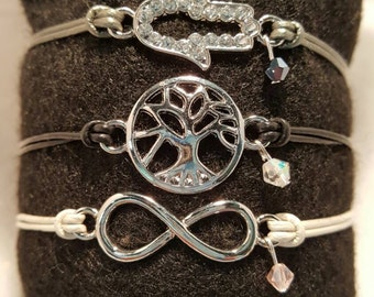Tree of Life, Hamsa Hand and Infinity sign stack leather bracelets with Swarovski accents.