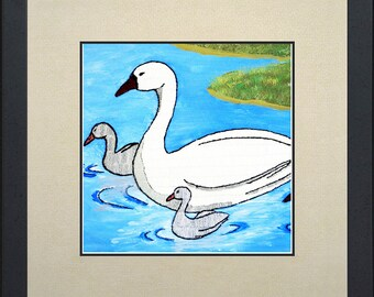 Silk painting of a swan