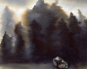 Winter Landscape Snow Storm Cabin in The Woods Ink Painting Original A4 Print