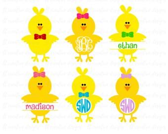Monogram Chicks Svg, Easter Svg, Easter Monogram Svg, Easter Split Monogram Svg, Silhouette Cut Files, Cricut Cut Files, Svg Files