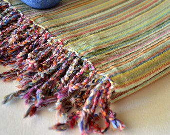 EXPRESS SHIPPING TOWEL - handwoven bath towel / body towel / yoga towel / beach towel /green orange pink stripes 012