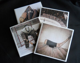 Hockey Coasters ~ Vintage Hockey ~ Ceramic Tile Coasters ~ Drink Coasters ~ Table Coasters ~ Sports ~ Housewarming Gift ~ Vintage Sports