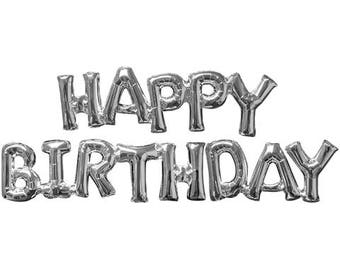 Happy Birthday Silver Phrase, Happy Birthday Mylar Balloons, Party Balloons,Silver, Gold, Script Balloons