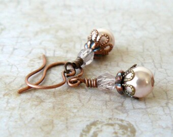 Pale Peach Pearl Earrings, Blush Pink Glass Pearl Dangles, Vintage Style Small Earrings, Romantic Jewelry