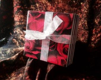 Rose Design Coaster Set