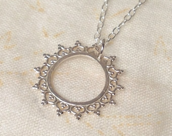 Silver Solstice Necklace - Sterling Silver 925 Sun Summer Sunshine Lace Circle Filigree Crown Queen Princess Chain