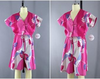 Vintage 1980s Hawaiian Romper / Pink Floral Print / Vintage Jumpsuit / Hilo Hattie Hawaii / 80s Playsuit