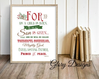 Printable, Bible Verse, For unto us a child is born printable Isaiah 9:6, Church print,Christmas quote, Christmas decor, Christmas Printable